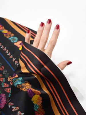 Шелк платок черный с цветами и каймой (8693) - Фото 25