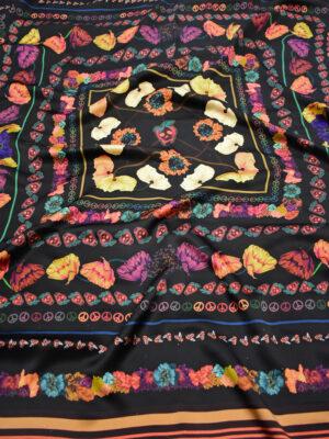 Шелк платок черный с цветами и каймой (8693) - Фото 24
