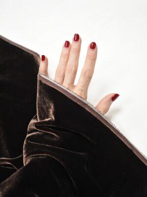Бархат стрейч шелковый темно-коричневый (8794) - Фото 16