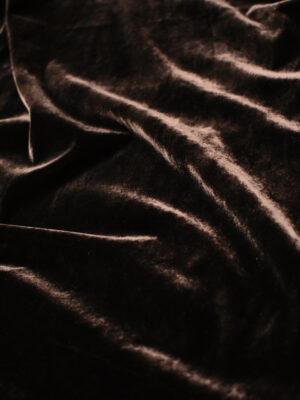 Бархат стрейч шелковый темно-коричневый (8794) - Фото 15