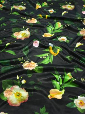 Атлас черный с лимонами и цветами (8808) - Фото 13
