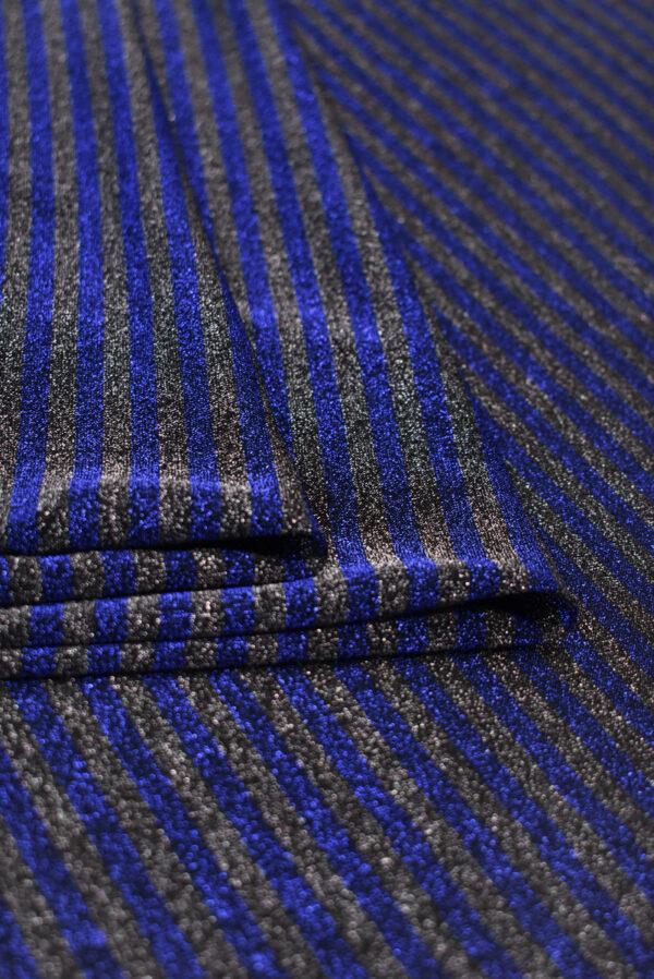 Трикотаж в синюю и серую полоску с люрексом (8836) - Фото 9