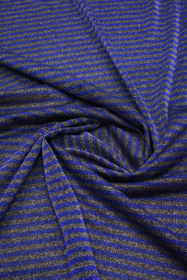 Трикотаж в синюю и серую полоску с люрексом (8836) - Фото 8