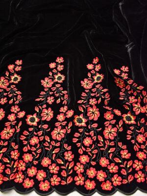 Бархат черный с вышивкой красные цветы (8844) - Фото 16