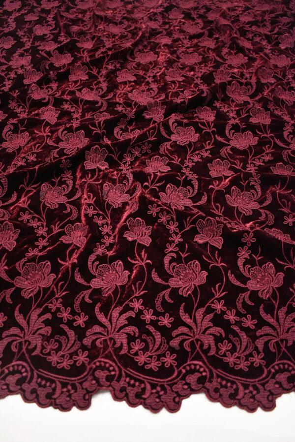 Бархат шелковый бордовый с цветами (8845) - Фото 6