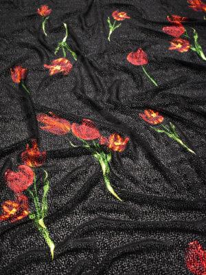 Бархат деворе черный с тюльпанами (8858) - Фото 11