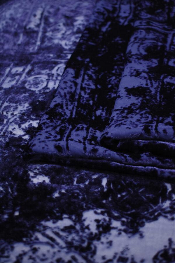 Бархат деворе темно-синий майолика (8859) - Фото 9