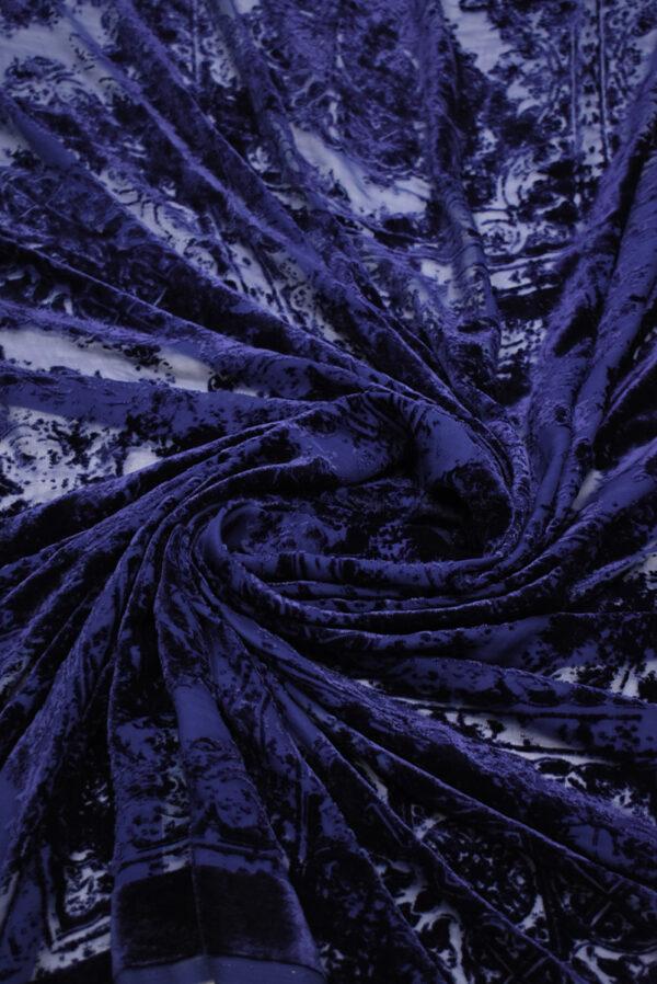 Бархат деворе темно-синий майолика (8859) - Фото 8