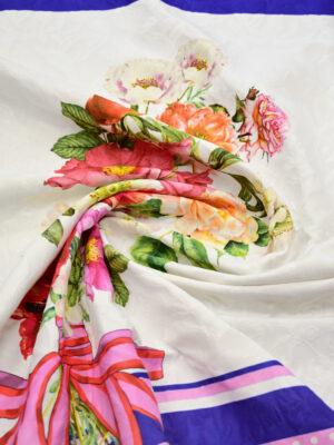 Матлассе купон букет цветов бант и синяя кайма (8910) - Фото 15