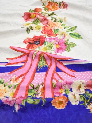 Матлассе купон букет цветов бант и синяя кайма (8910) - Фото 14