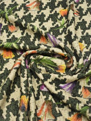 Твид бежевый в куриную лапку с тюльпанами (8919) - Фото 12