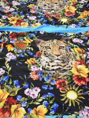 Шелк купон с цветами и леопардами (8995) - Фото 22
