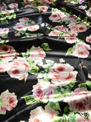Тафта черная с розами (9001) - Фото 16