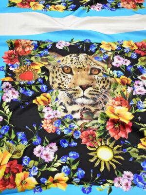 Шелк платочный принт с цветами и леопардом (9002) - Фото 26