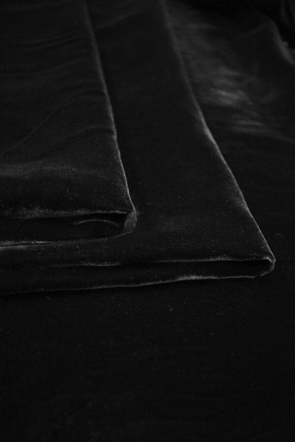 Бархат черный матовый вискозный (9006) - Фото 9
