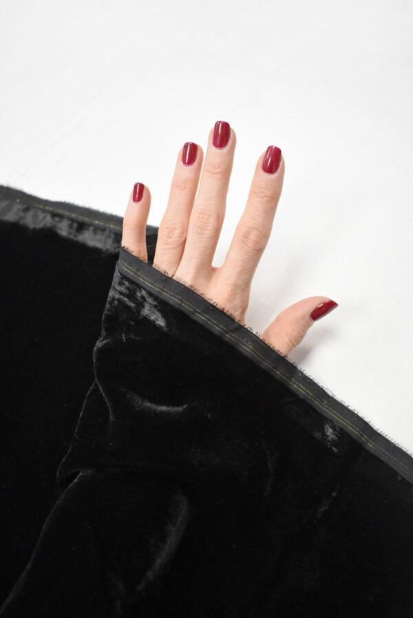 Бархат черный матовый вискозный (9006) - Фото 7