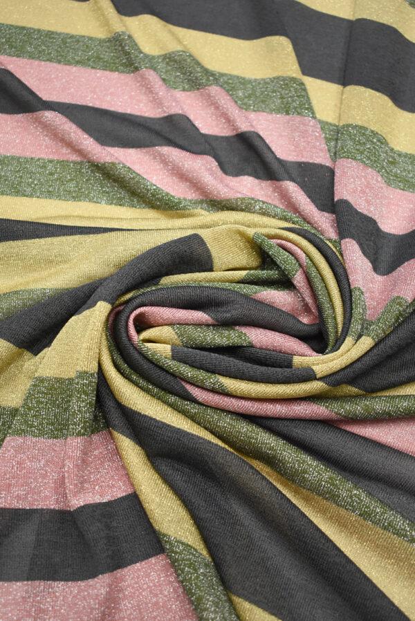 Трикотаж в разноцветную полоску с люрексом (9023) - Фото 7