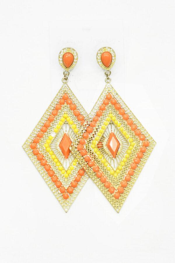Серьги золотистые с оранжевыми и желтыми камнями