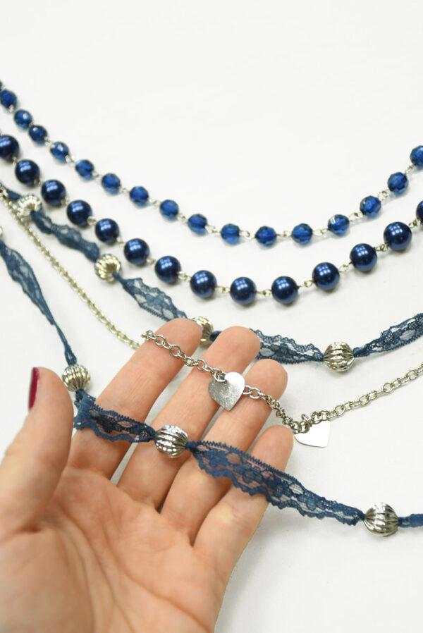Бусы синие с серебряной цепью и кружевом 1