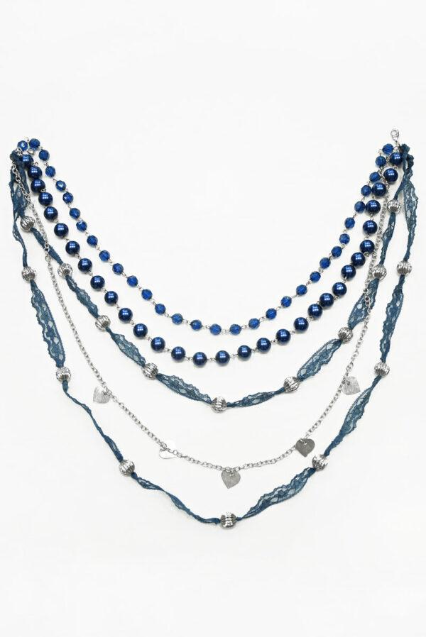 Бусы синие с серебряной цепью и кружевом