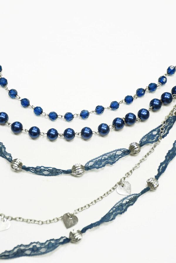 Бусы синие с серебряной цепью и кружевом 2