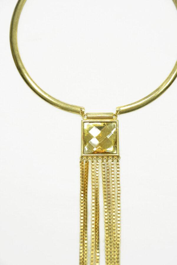 Колье металл золото с кристаллом 1