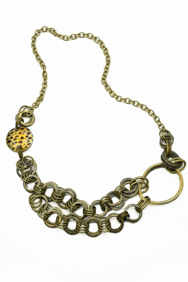 Ожерелье бронзовое с цепью и крупными кольцами