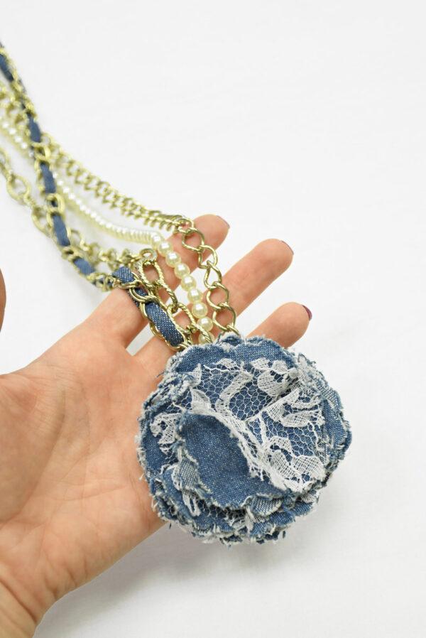 Ожерелье с золотой цепью жемчугом и 3Д цветком 1