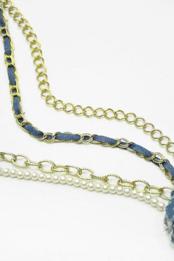Ожерелье с золотой цепью жемчугом и 3Д цветком 2