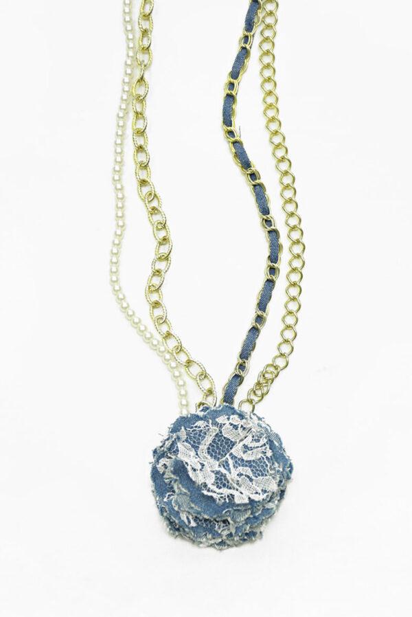 Ожерелье с золотой цепью жемчугом и 3Д цветком (b0021) Д-1 - Фото 6