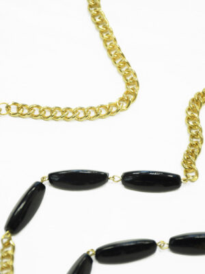 Ожерелье металл золото с черными камнями 1