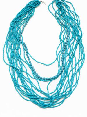Бусы из бисера голубые многорядные