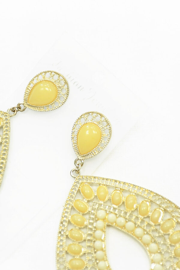 Серьги светлое золото с ванильными камнями 2