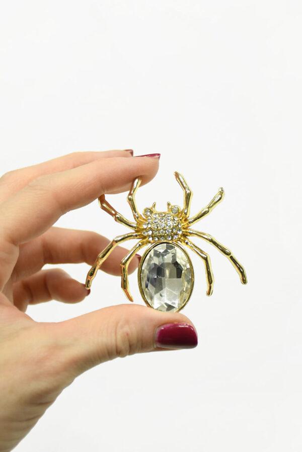 Брошь золотой паук с кристаллами 1