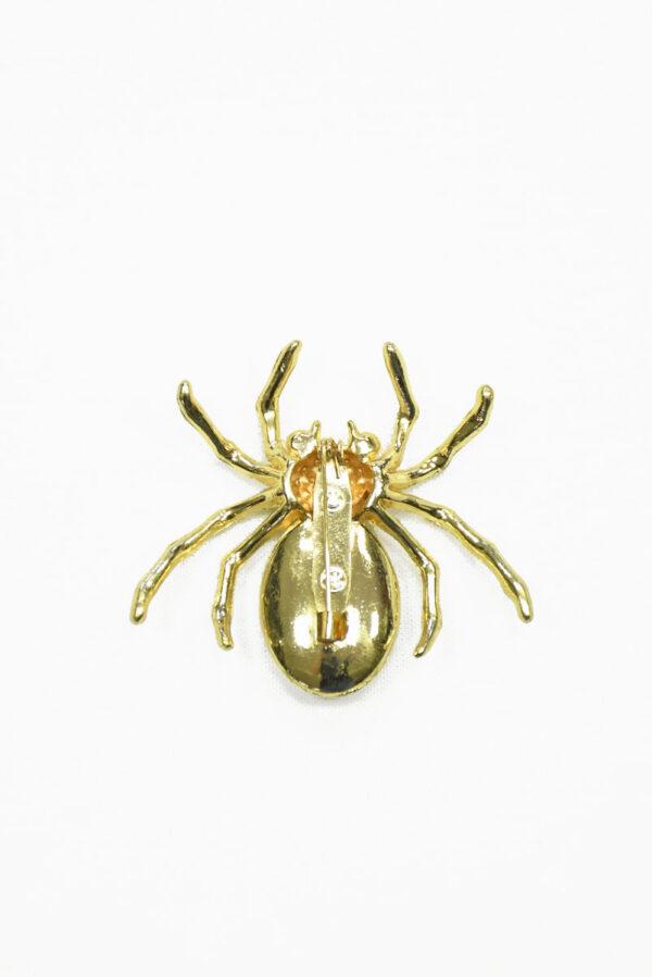 Брошь золотой паук с кристаллами 2