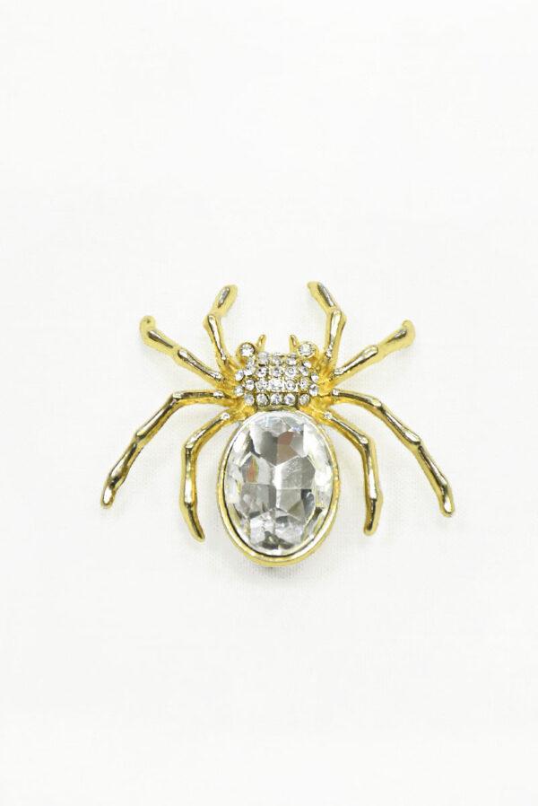 Брошь золотой паук с кристаллами