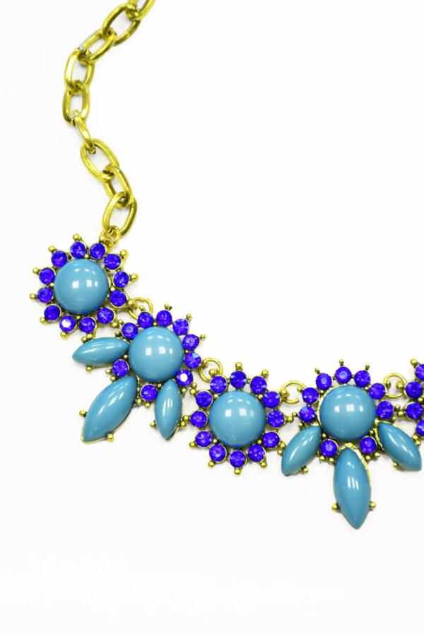 Колье металл золото с голубыми камнями и стразами 3