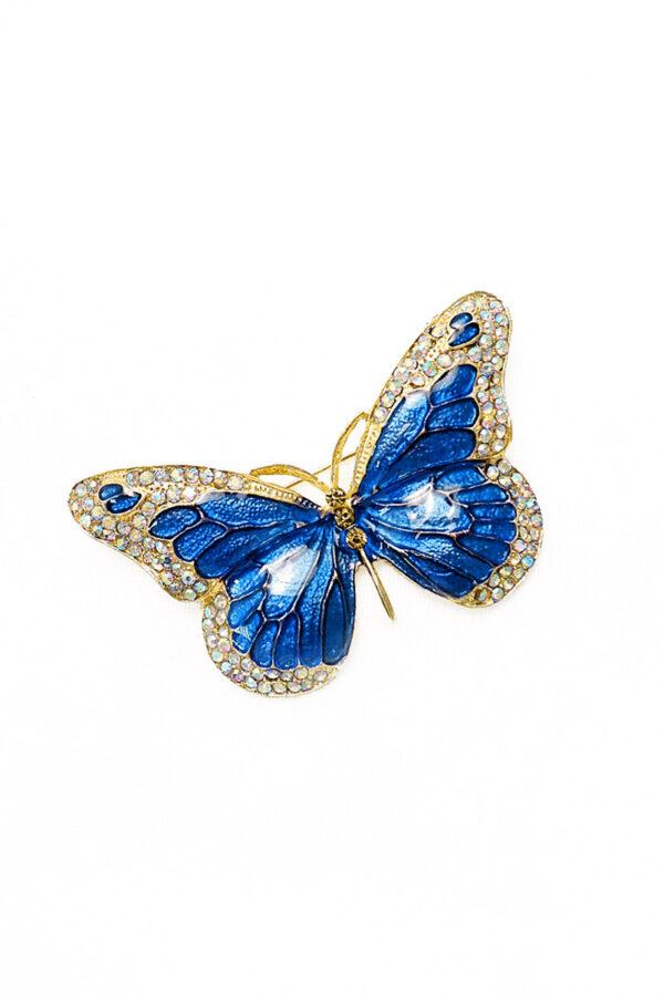 Брошь синяя бабочка со стразами