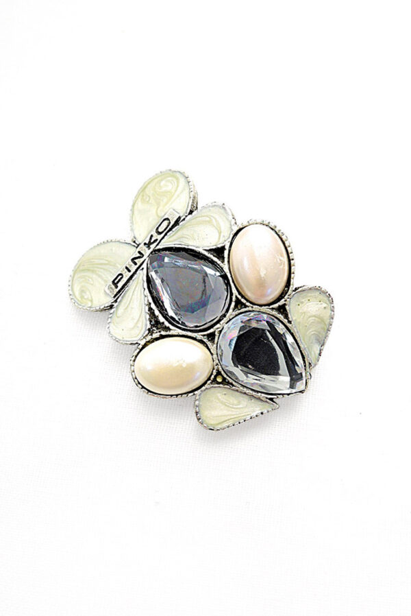 Брошь металл серебро лепестки с эмалью и кристаллами