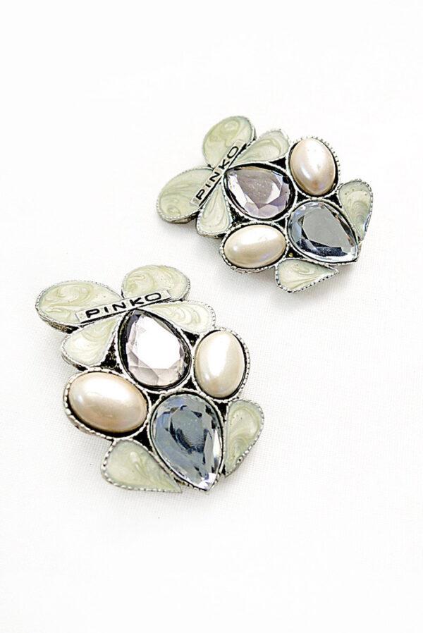Брошь металл серебро лепестки с эмалью и кристаллами 1