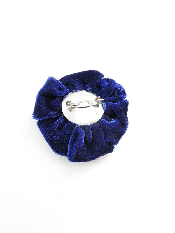 Брошь синий бархатный цветок 1