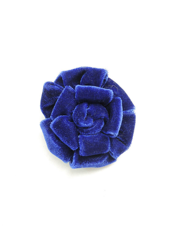 Брошь синий бархатный цветок