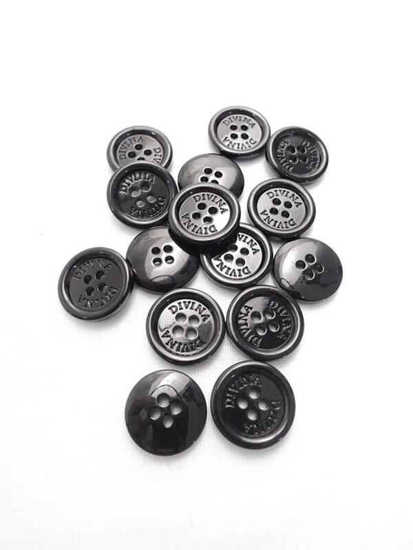 Пуговица черная глянцевая лакированная Divina (p0798) - Фото 7