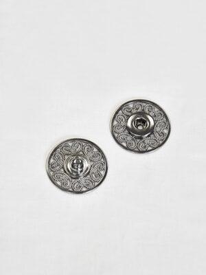Кнопки пришивные металлические с ажурным узором серебро (p0824) - Фото 13
