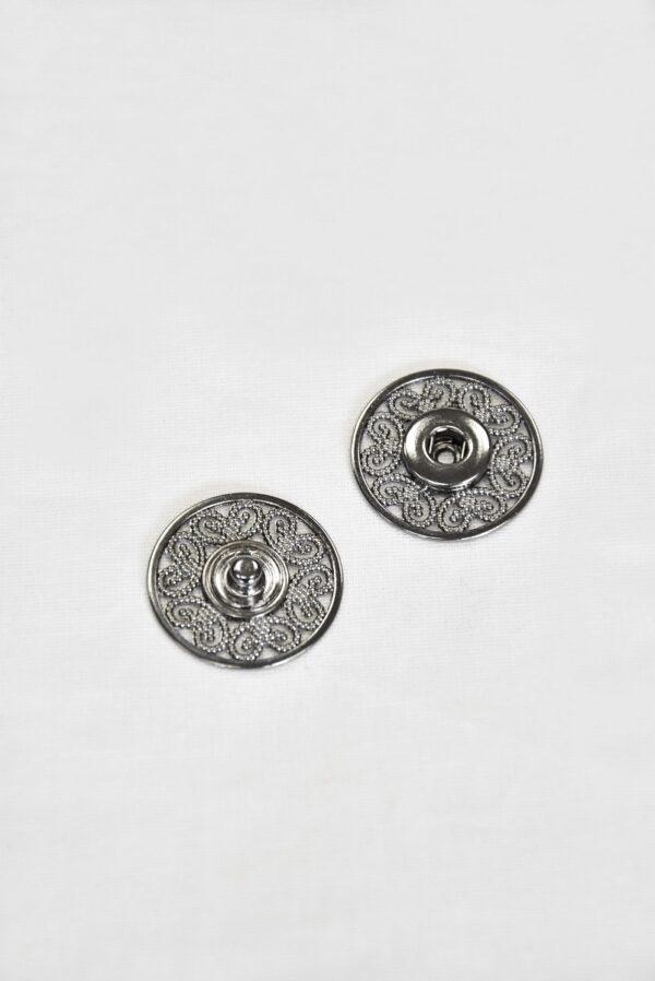 Кнопки пришивные металлические с ажурным узором серебро (p0824) - Фото 6