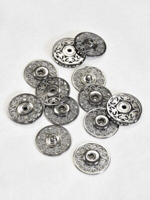 Кнопки пришивные металлические с ажурным узором серебро (p0824) - Фото 14