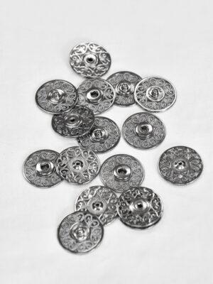 Кнопки пришивные металлические с ажурным узором блэк никель (p0825) - Фото 23
