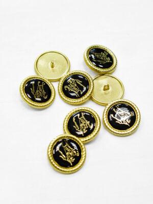 Пуговица металл с черной эмалью золотой всадник на лошади (p1165) - Фото 22