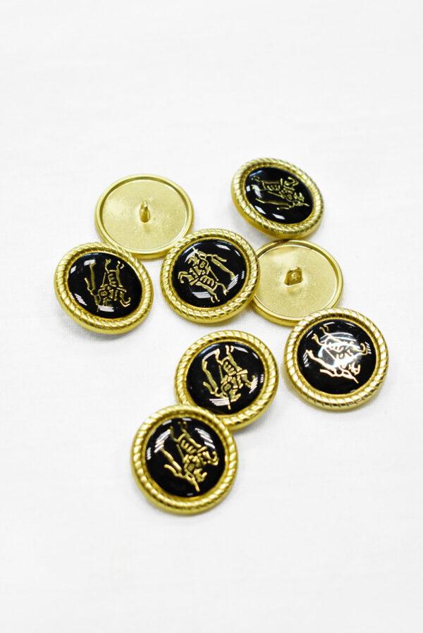 Пуговица металл с черной эмалью золотой всадник на лошади (p1165) к19 - Фото 7