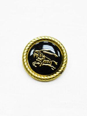 Пуговица металл с черной эмалью золотой всадник на лошади (p1165) - Фото 21